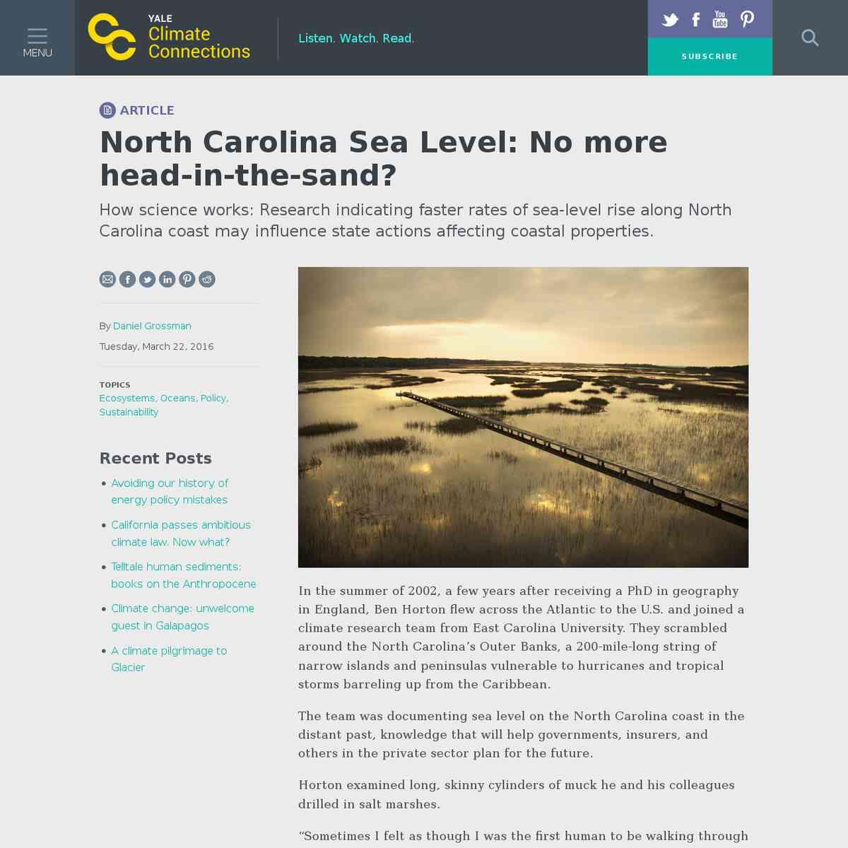 North Carolina Sea Level: No more head-in-the-sand?
