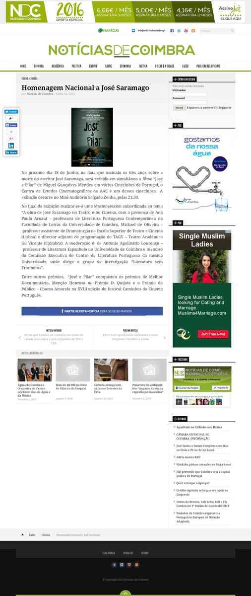 Homenagem Nacional a José Saramago | Notícias de Coimbra