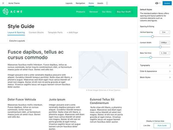 Style Workspace showing Style Guide