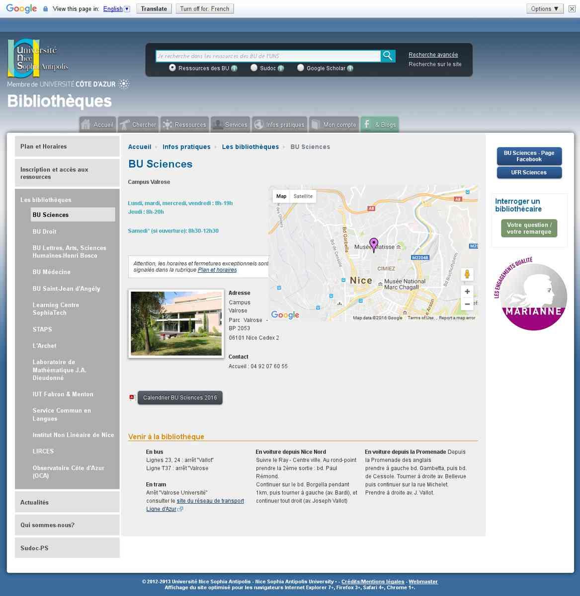 bibliothèque universitaire section sciences  (nouvelle fenêtre)