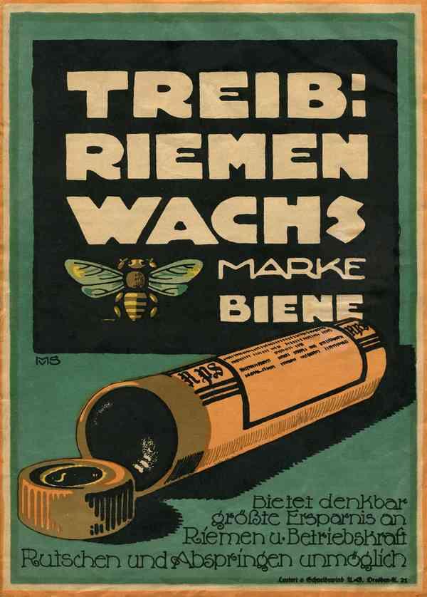 """Kleines Plakat für """"Treibriemenwachs Marke Biene"""""""