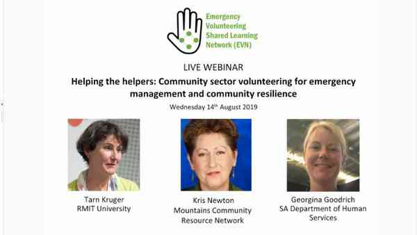 WEBINAR YOUTUBE: Community sector volunteering for EM & community resilience (14 August 2019)
