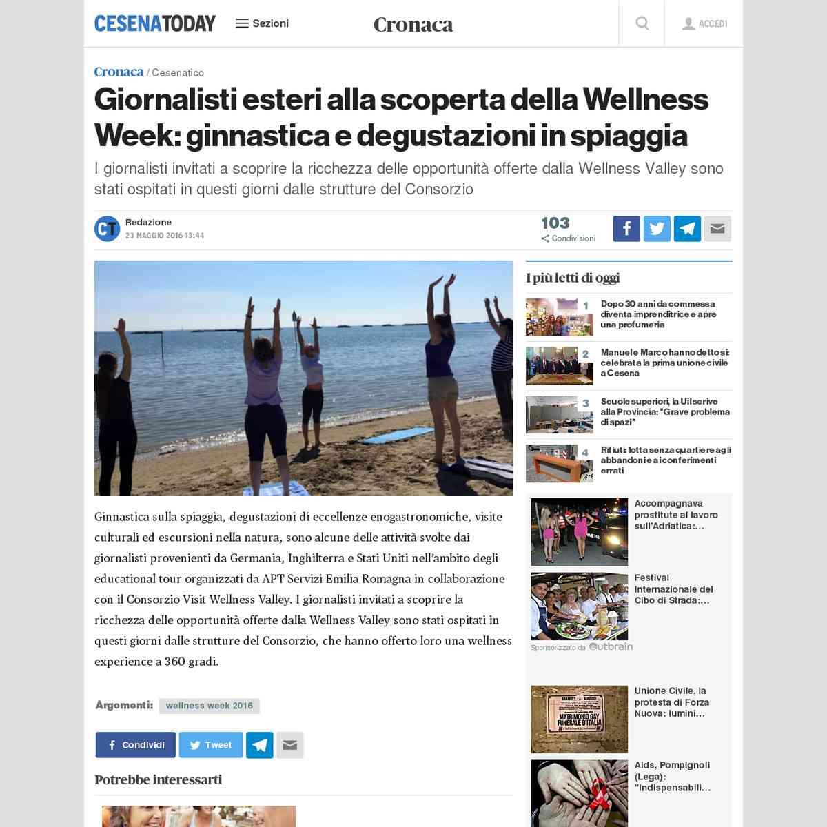 Giornalisti esteri alla scoperta della Wellness Week: ginnastica e degustazioni in spiaggia - Cesen…