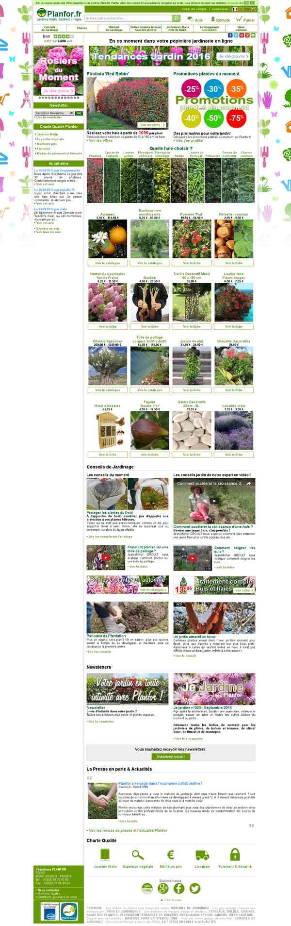 Pépinière Jardinerie en ligne - Planfor