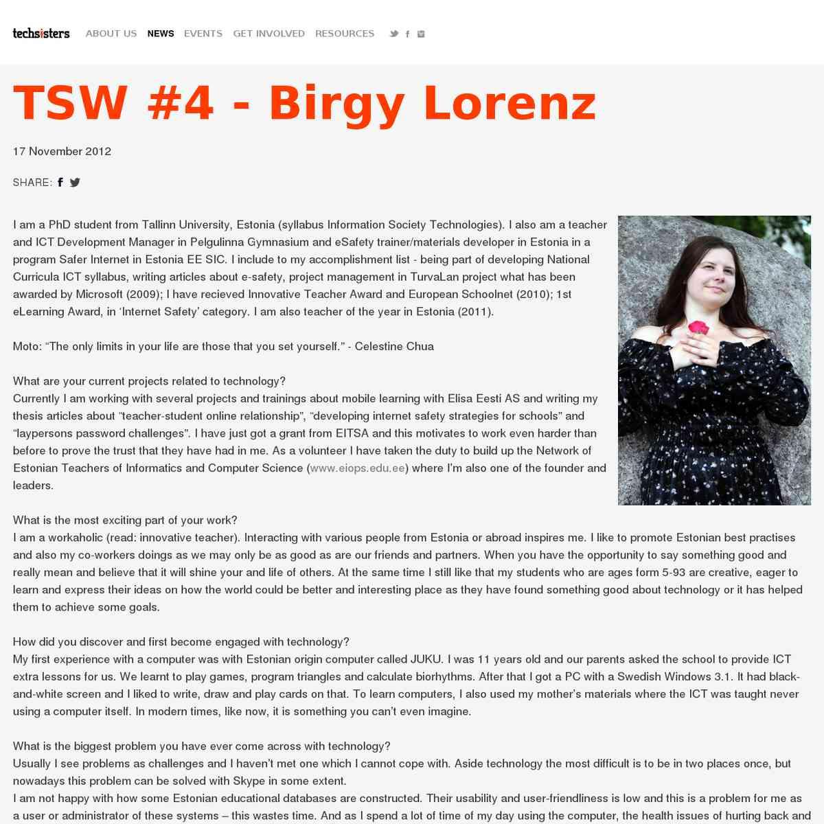 Persoonilugu: TSW #4 - Birgy Lorenz | Tech Sisters - Talent knows no gender