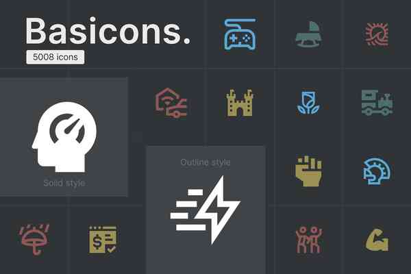 Basicons — 5008 Line and Solid Icons