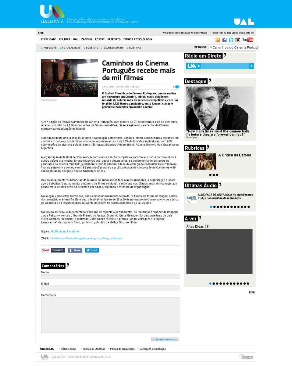 Caminhos do Cinema Português recebe mais de mil filmes   UALMedia