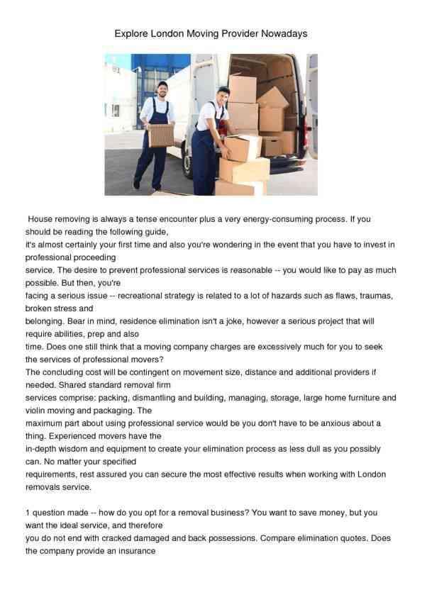 Explore London Moving Provider Nowadays