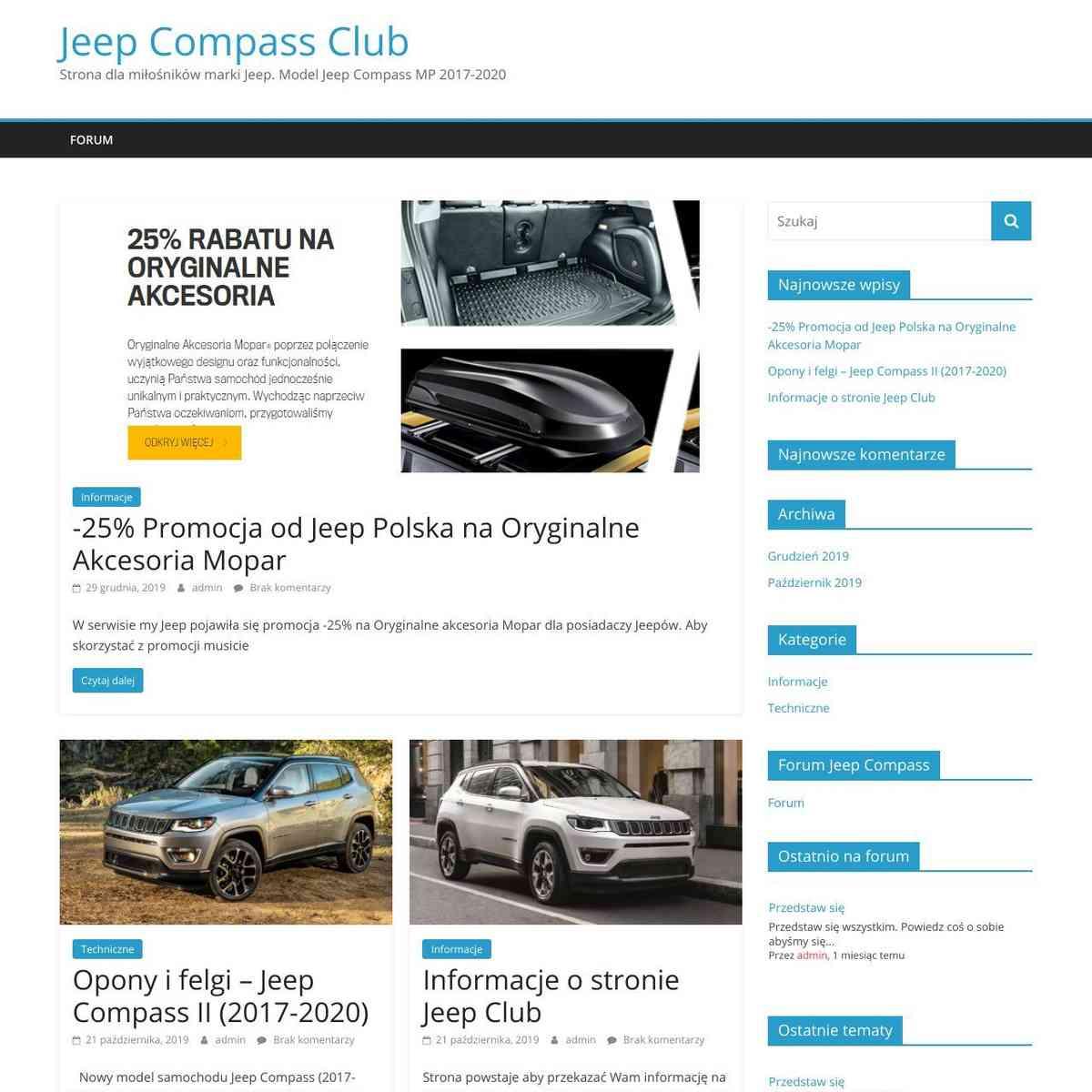 Jeep Compass Club - Strona dla miłośników marki Jeep. Model Jeep Compass MP 2017-2020