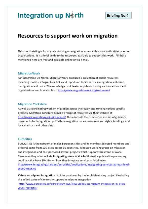 Briefing 4 - Resources to support work on migration