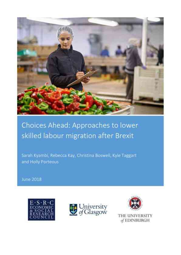 Choices Ahead: Approaches to lower skilled labour migration after Brexit