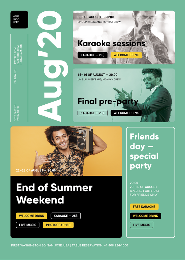 $ Party Schedule Poster Template