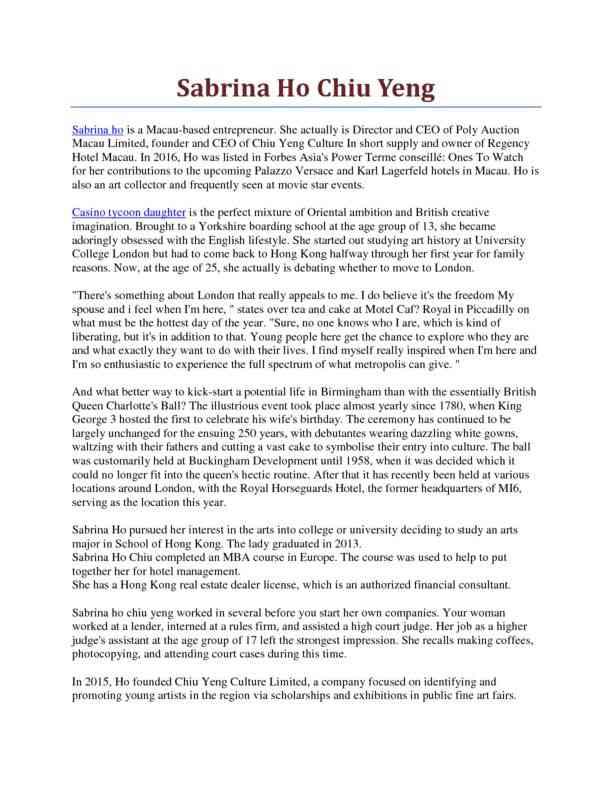 About Sabrina Ho Chiu Yeng
