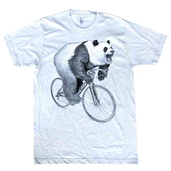 Panda on a Bicycle Tee White