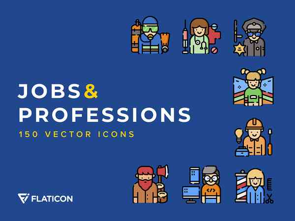 Jobs and Professions Icons Set