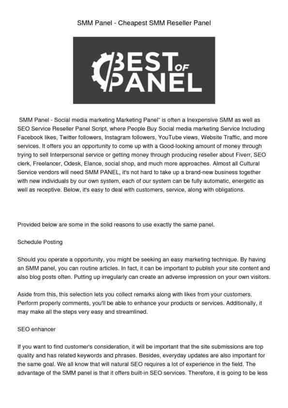 SMM Panel Cheapest SMM Reseller Panel