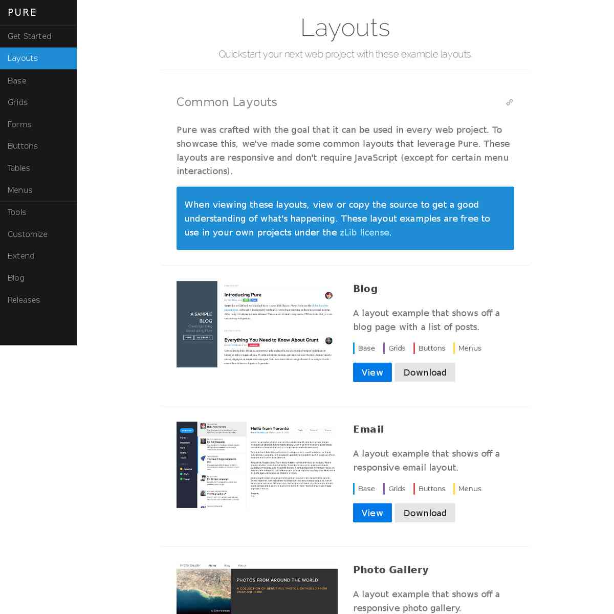Layouts – Pure