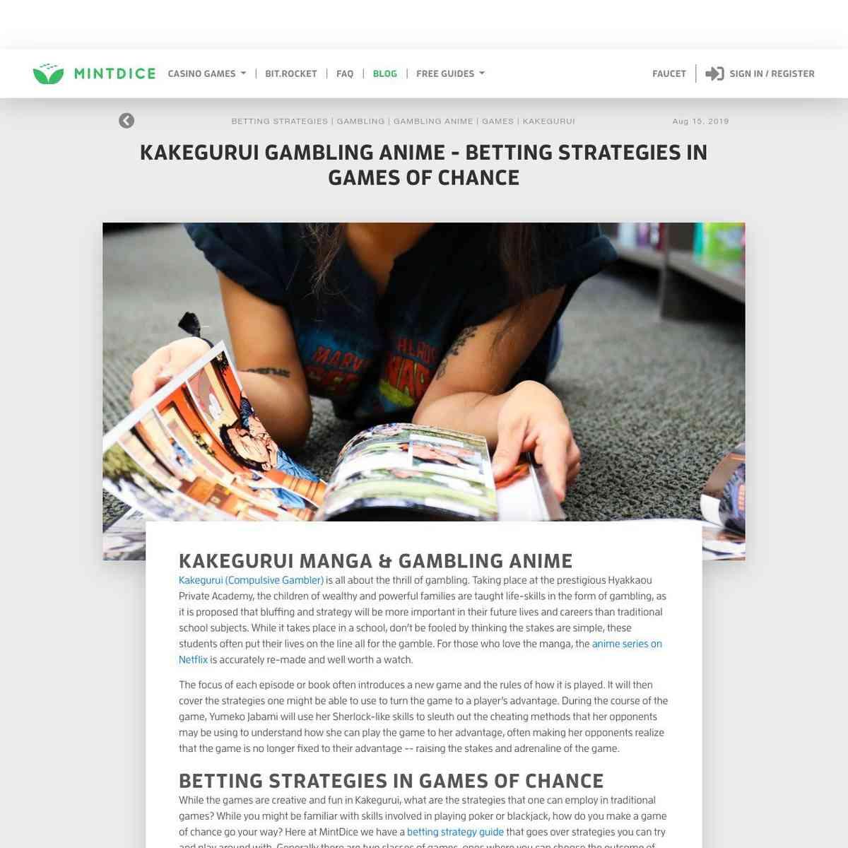 Kakegurui Gambling Anime - Betting Strategies in Games of Chance