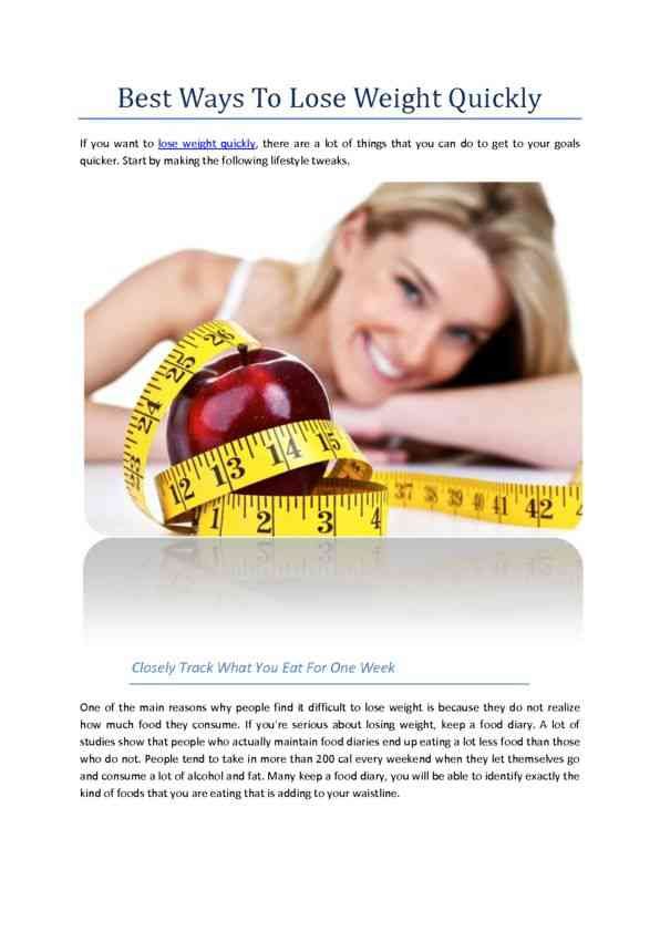 Best Ways to Lose Weight Quickly
