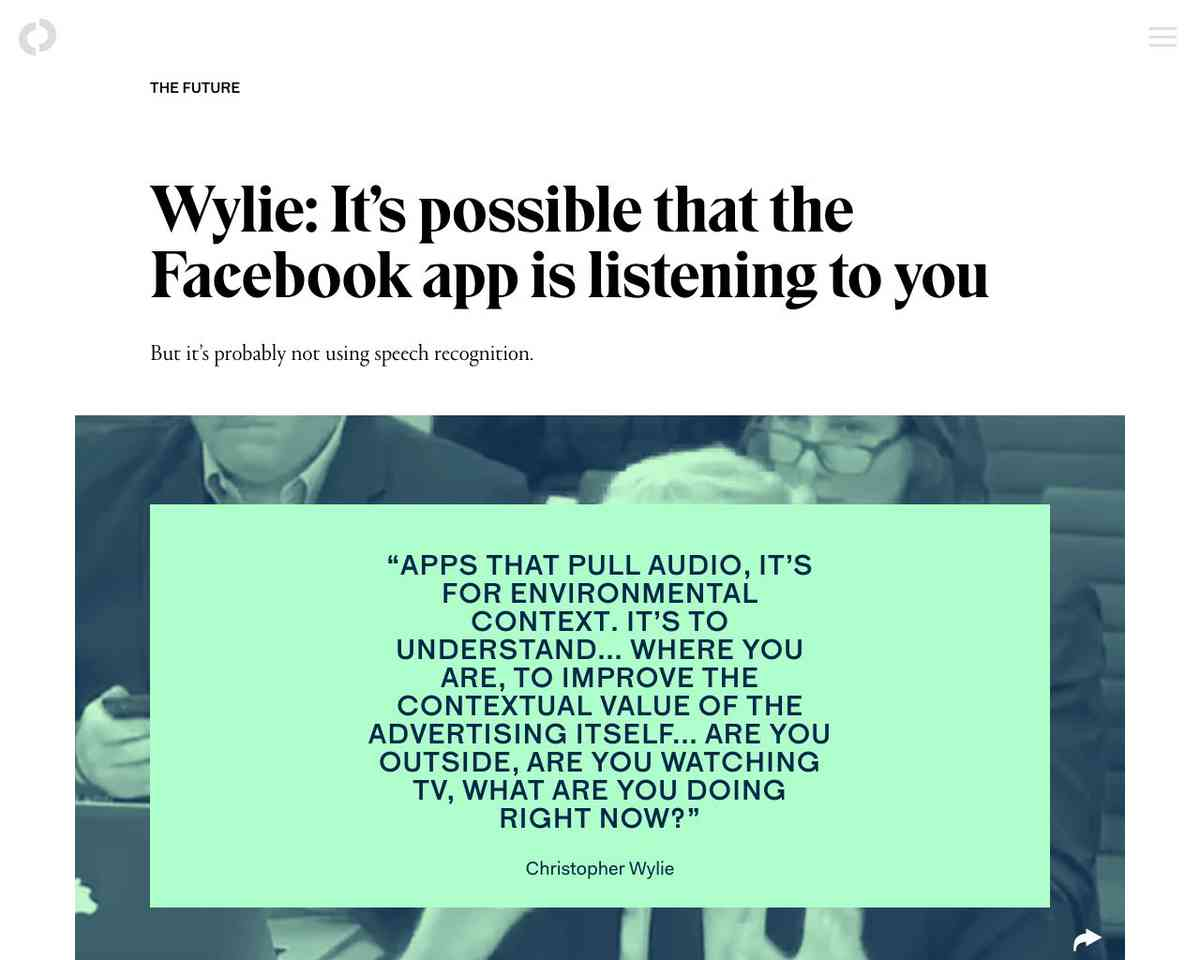 Wylie: It's possible that the Facebook app is listening to you | The Outline