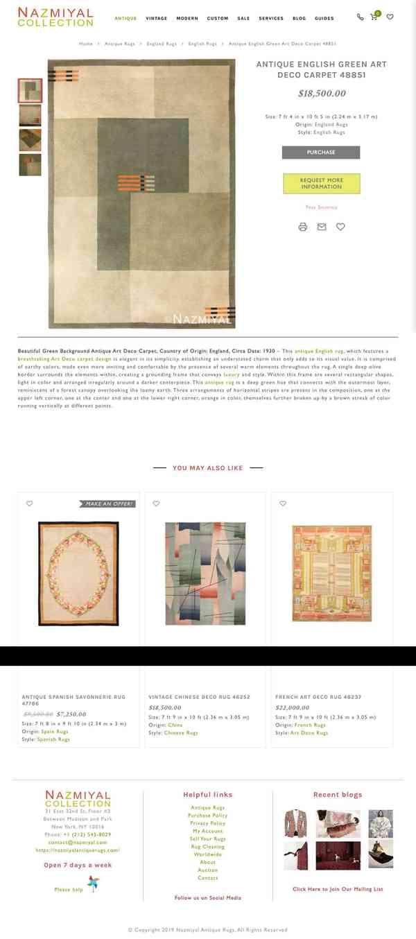 Antique English Green Art Deco Carpet 48851 Nazmiyal Antique Rugs
