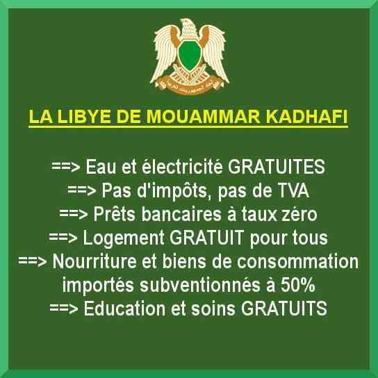 Pour rappel, la Jamahiriya libyenne, c'était... - DRAPEAU VERT : pour la défense de l'idée jamah…