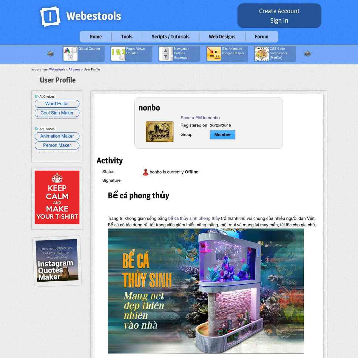 User Profile - Webestools