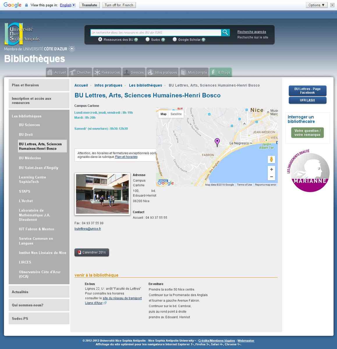 bibliothèque universitaire section lettres - arts - sciences humaines (nouvelle fenêtre)
