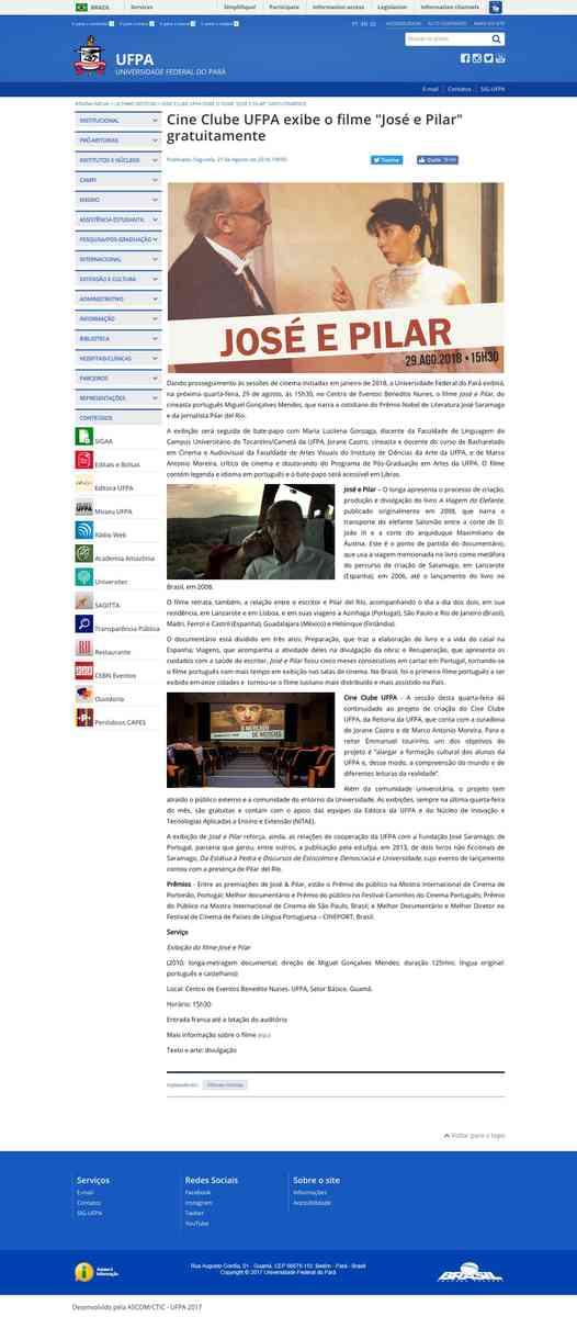 "Cine Clube UFPA exibe o filme ""José e Pilar"" gratuitamente"