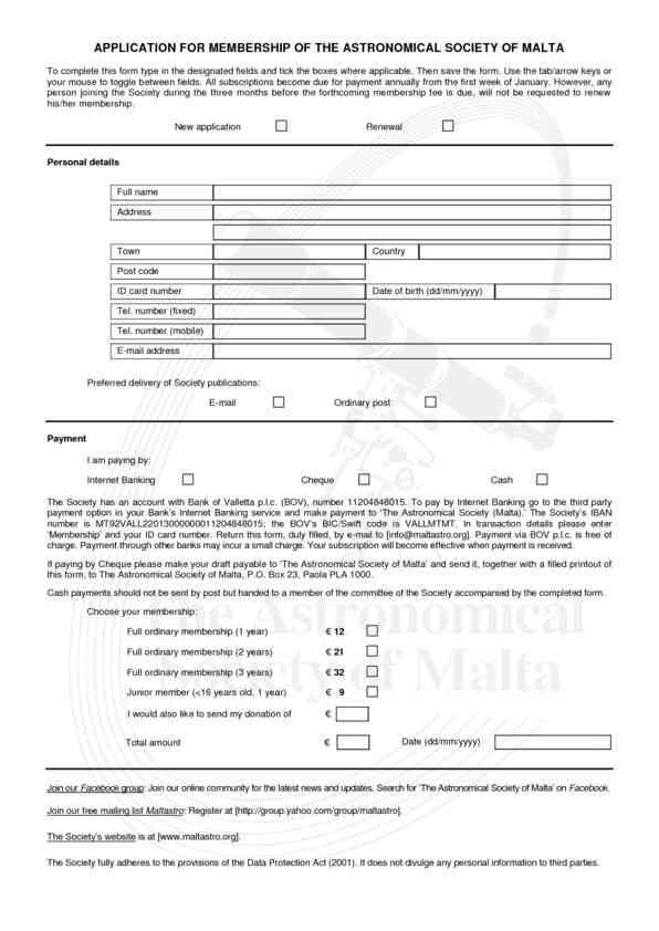 ASM Application form pdf