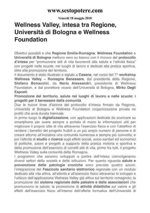 2019-05-18 Sestopotere_ Wellness Valley, intesa tra Regione, Università di Bologna e Wellness Foun…