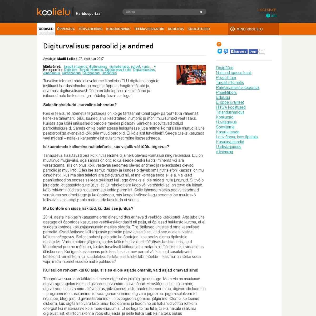 Digiturvalisus: paroolid ja andmed : Koolielu