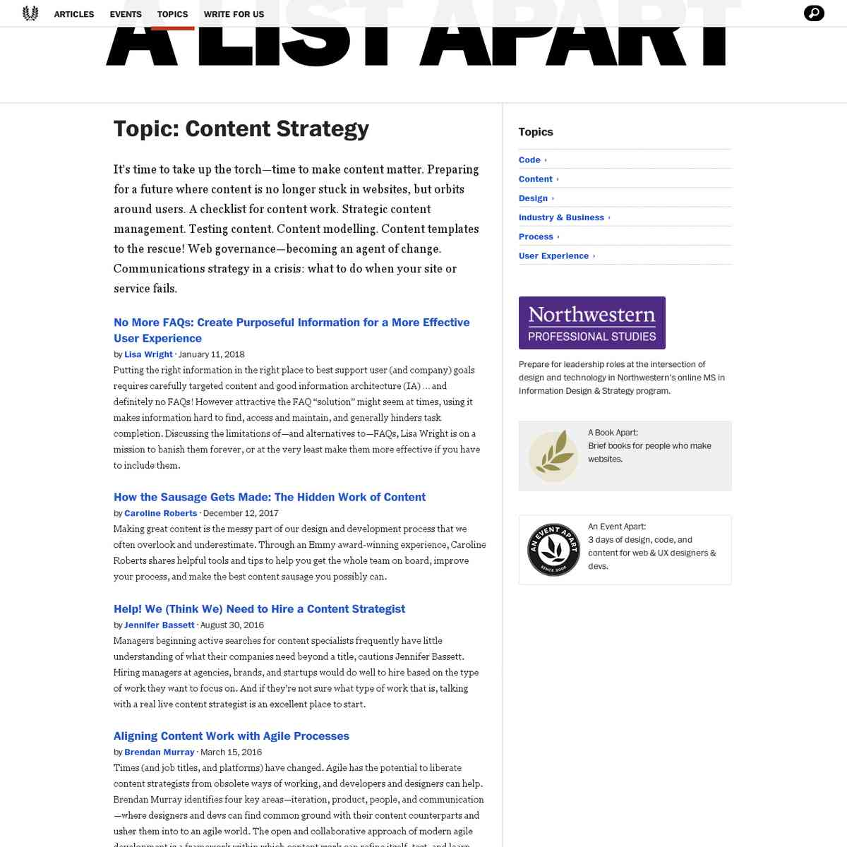 A List Apart Articles about Content Strategy