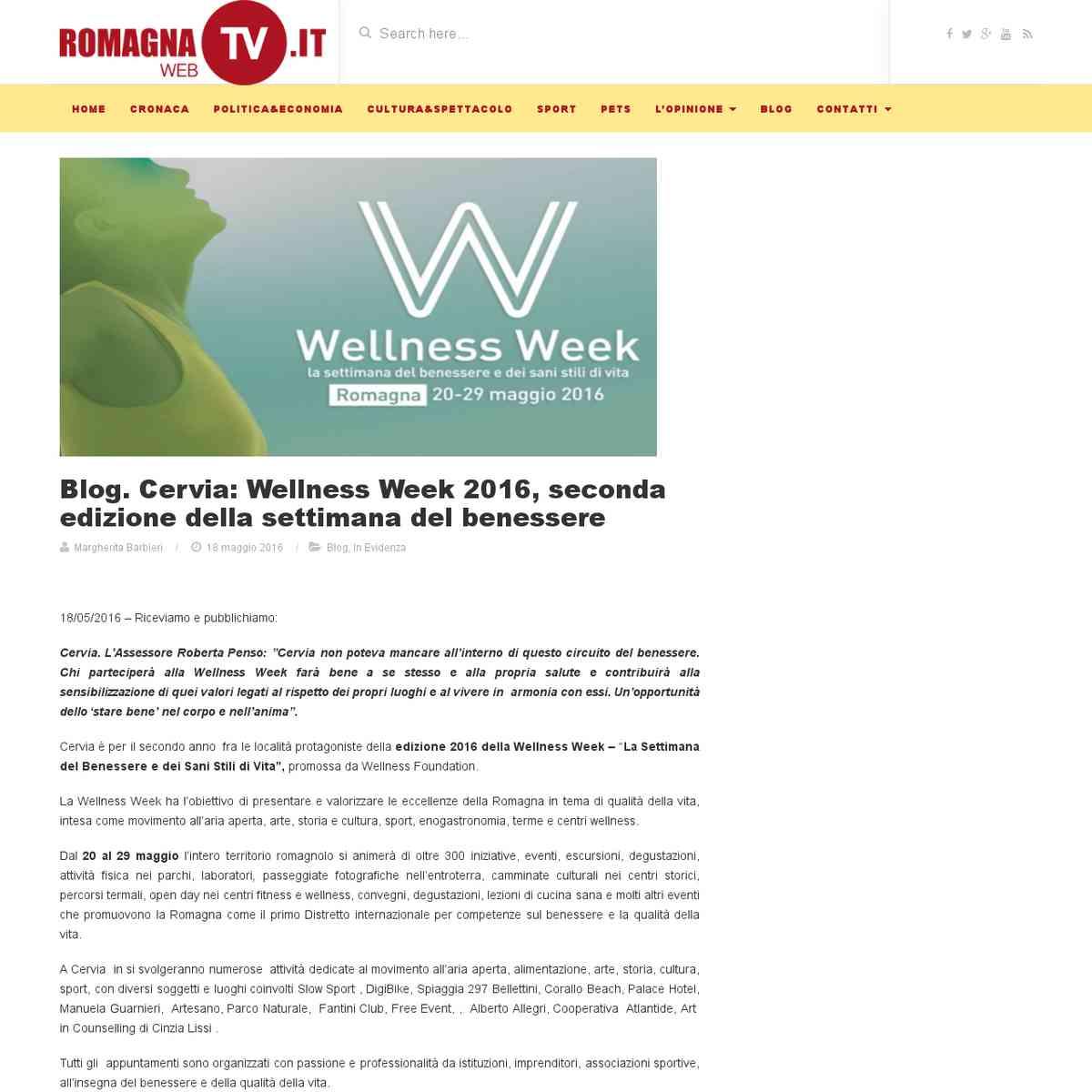 Blog. Cervia: Wellness Week 2016, seconda edizione della settimana del benessere - Romagna web tv -…