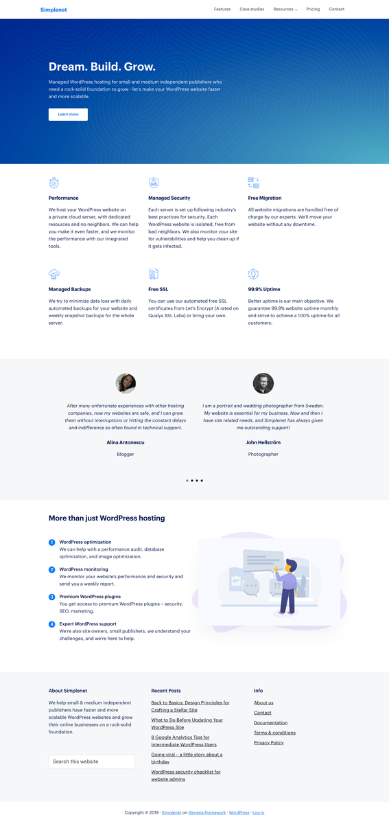 Managed WordPress Hosting by Simplenet