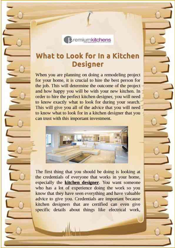What to Look for In a Kitchen Designer