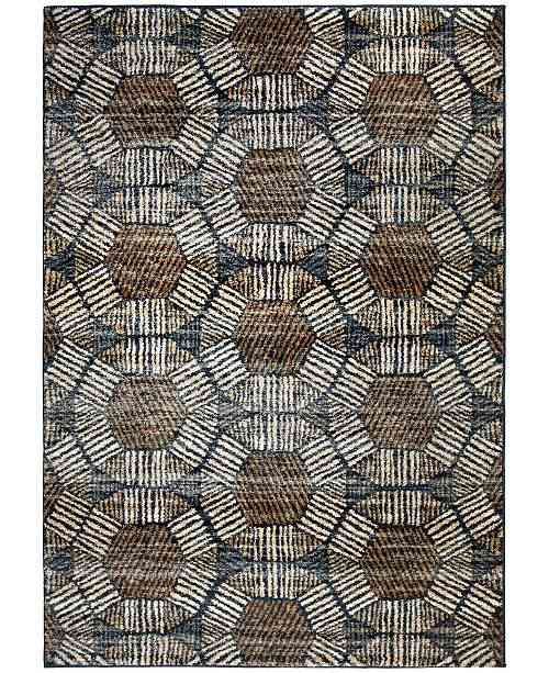 "Palmetto Living Adagio Textured Penny Blue 6'5"" x 9'6"" Area Rug & Reviews - Furniture - Macy's"