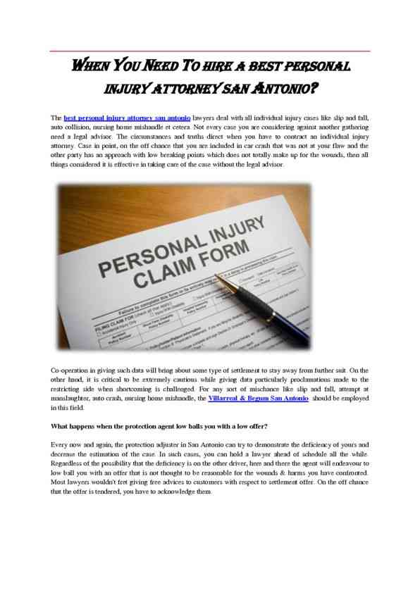 When you Need to Hire a Best Personal Injury Attorney