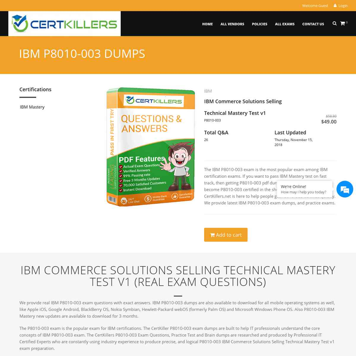 Download VCE Questions of P8010-003 at CertKillers.net | sample test | bootcamp