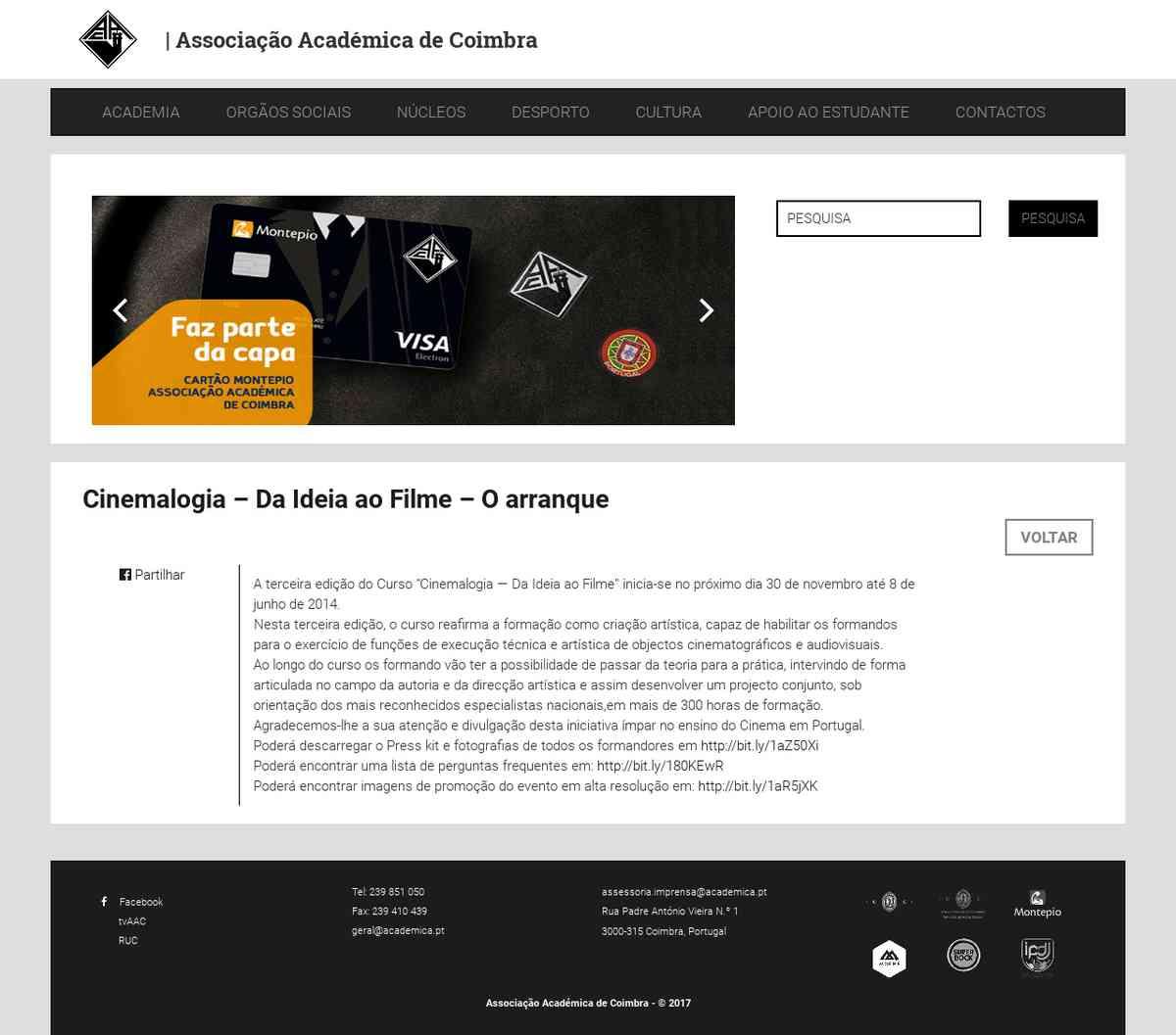 Cinemalogia – Da Ideia ao Filme – O arranque | Associação Académica de Coimbra
