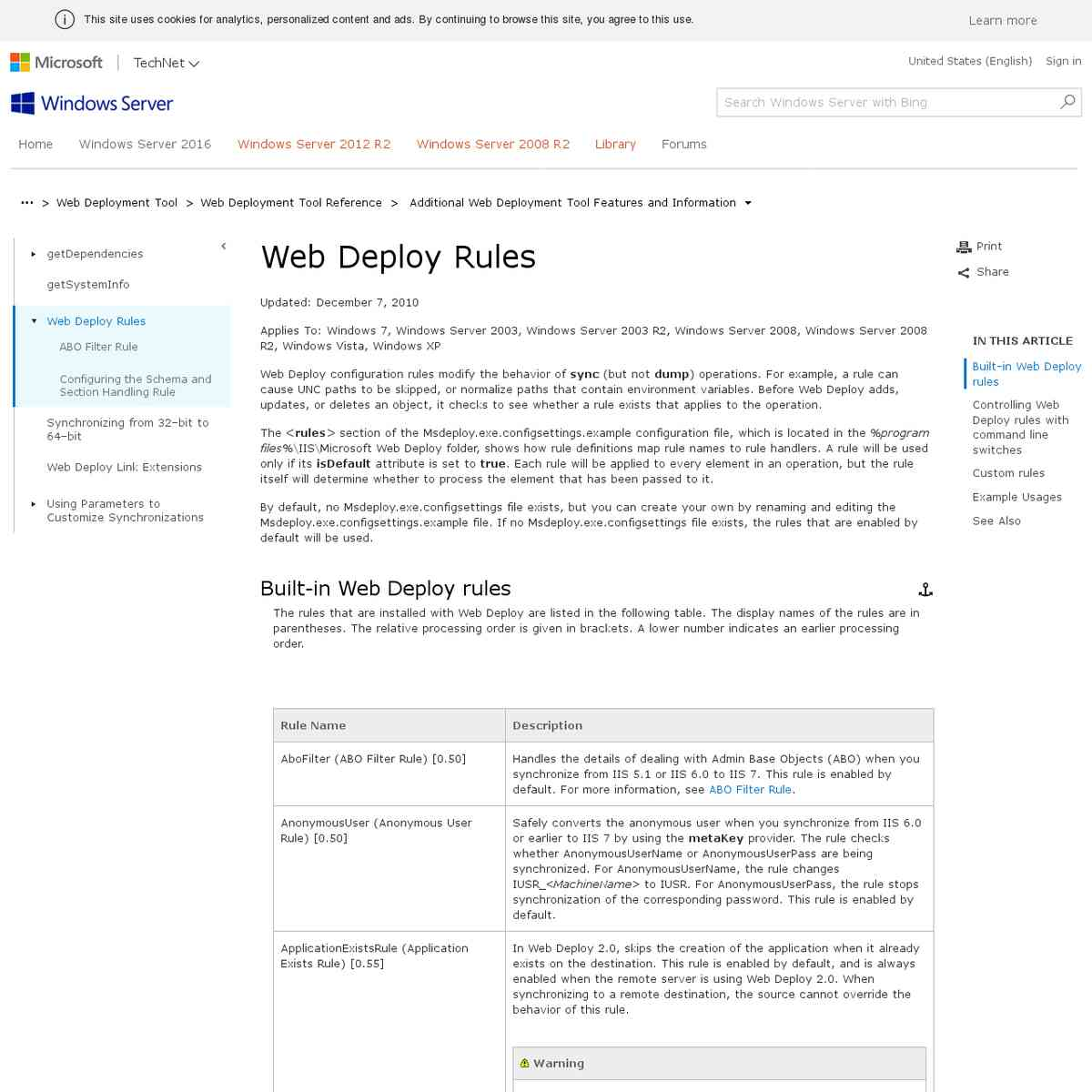 Web Deploy Rules