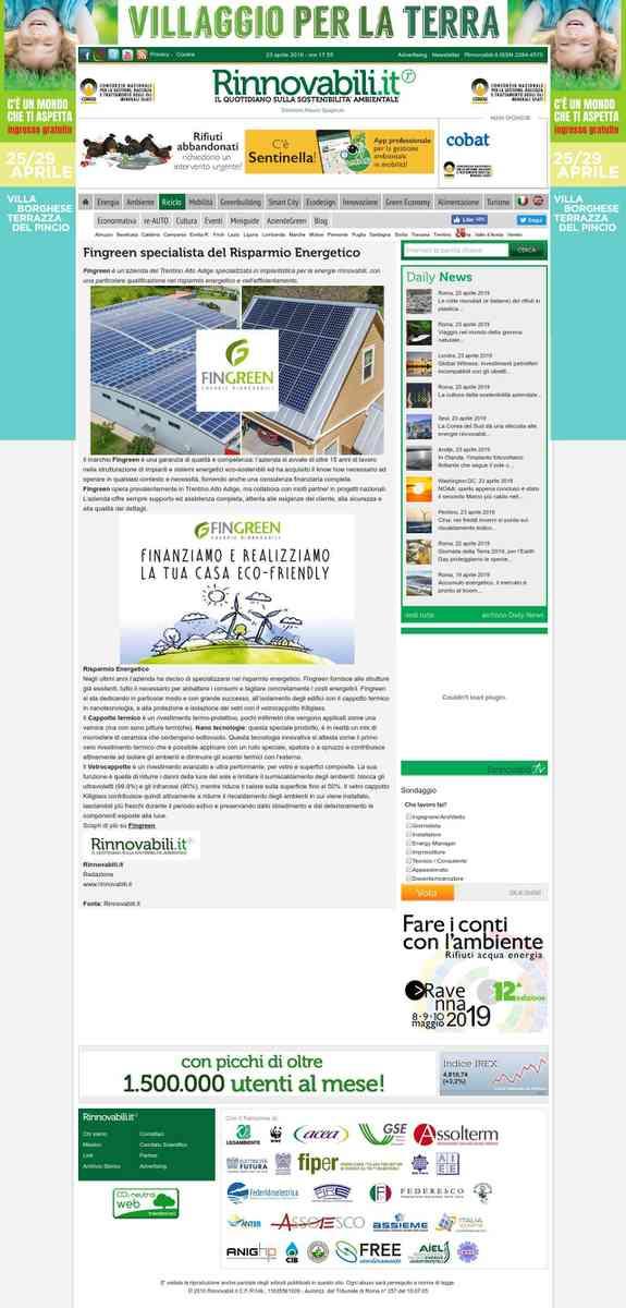 Risparmio Energetico Trentino da oltre 15 anni Fingreen Energie Rinnovabili