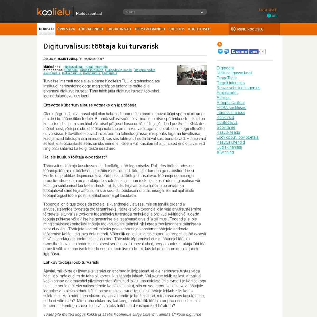 Digiturvalisus: töötaja kui turvarisk : Koolielu