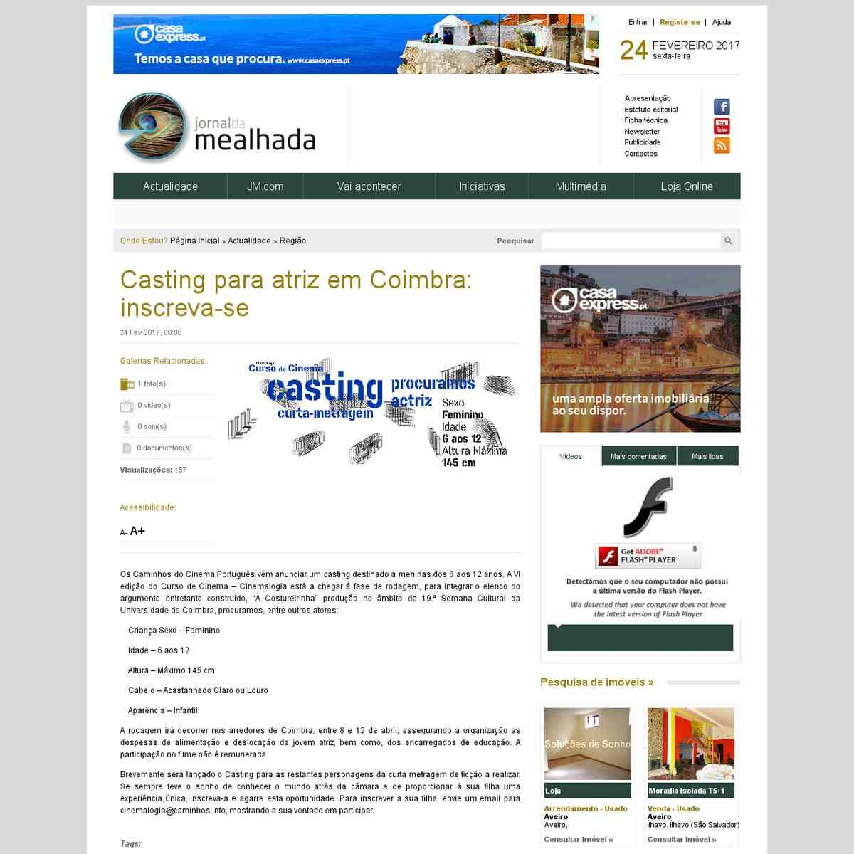 Casting para atriz em Coimbra: inscreva-se - Jornal da Mealhada