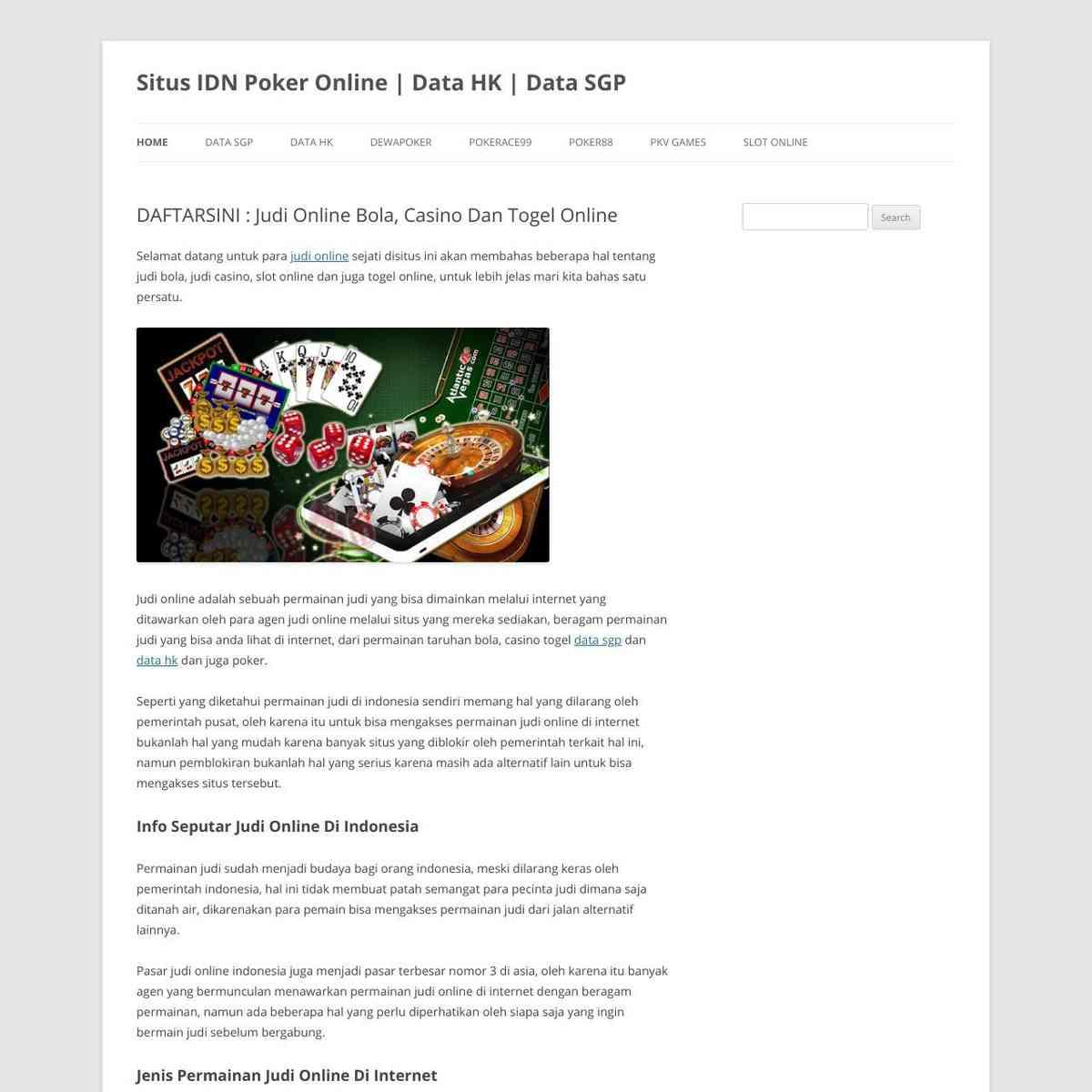 DAFTARSINI : Judi Online Bola, Casino Dan Togel Online