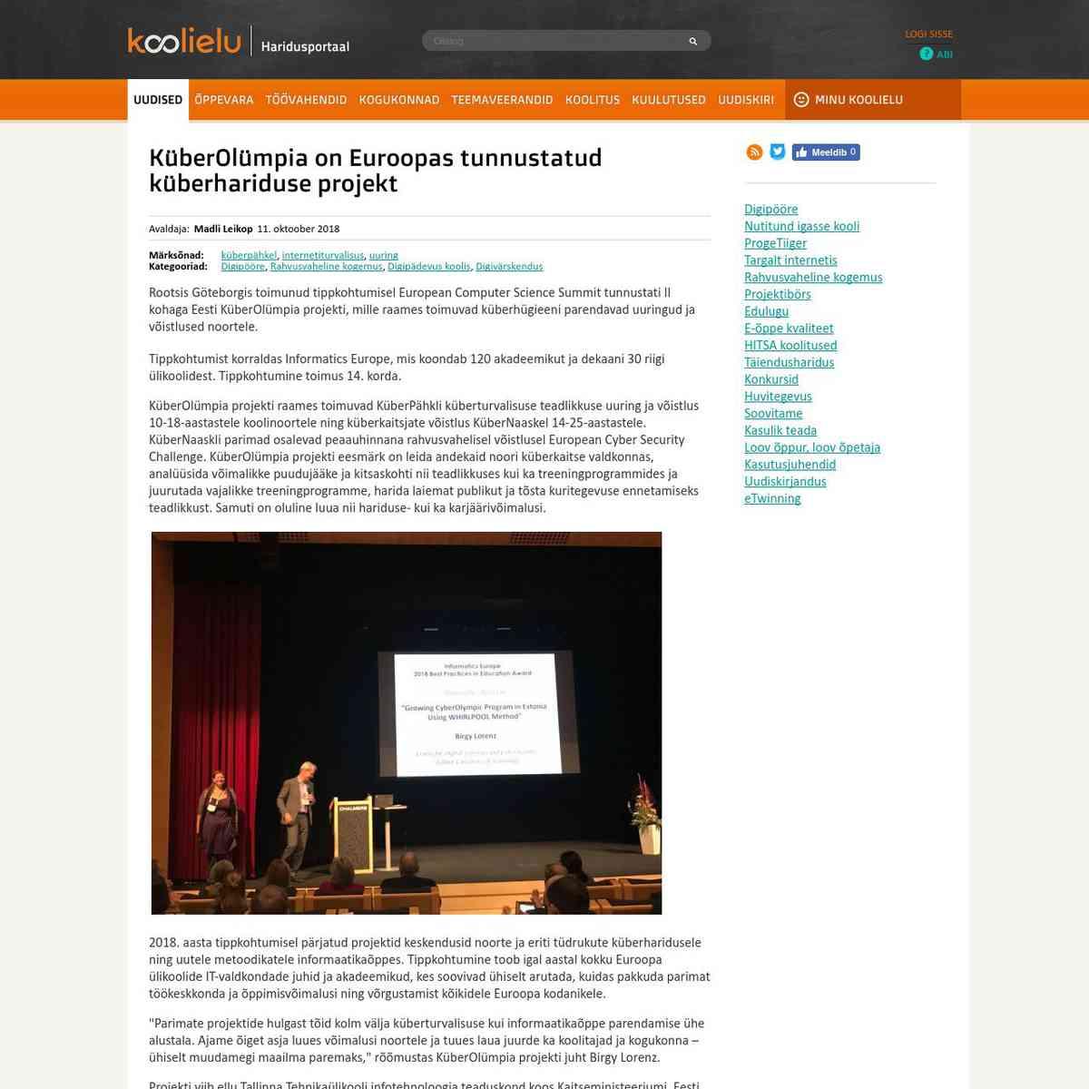 KüberOlümpia on Euroopas tunnustatud küberhariduse projekt : Koolielu