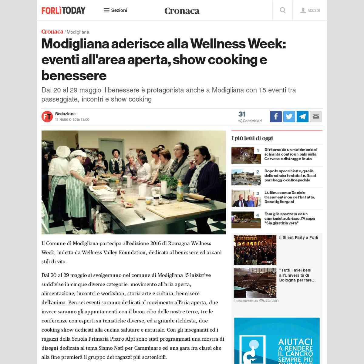 Modigliana aderisce alla Wellness Week: eventi all'area aperta, show cooking e benessere - Forlì T…