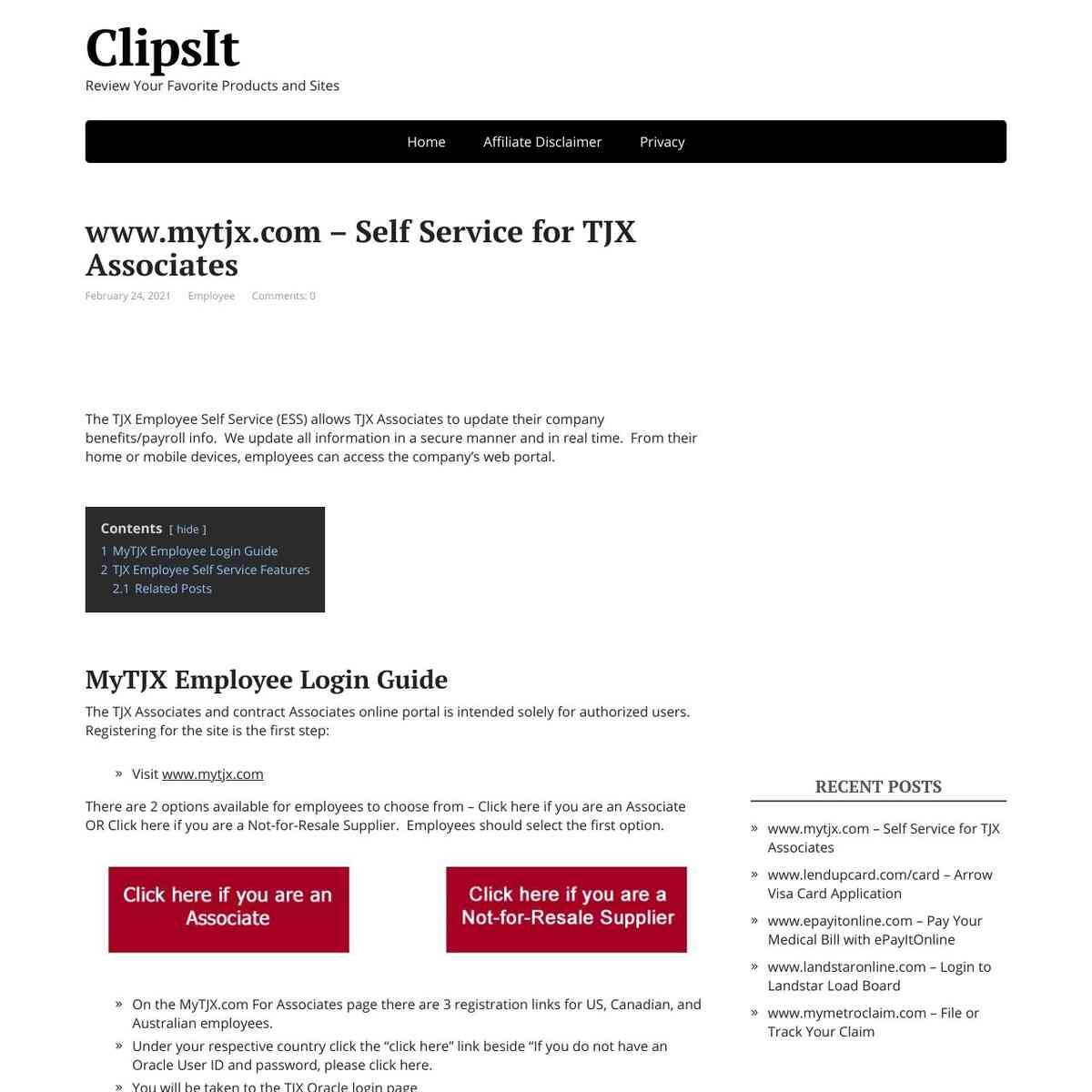 MyTJX Employee Associates Login