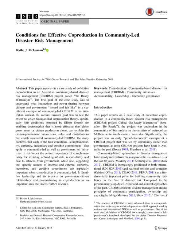 RESEARCH ARTICLE: Conditions for effective coproduction in community-led disaster management: a cas…