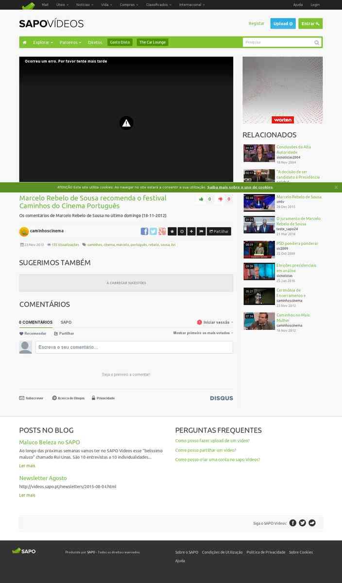 Marcelo Rebelo de Sousa recomenda o festival Caminhos do Cinema Português | TVI: Jornal das 8